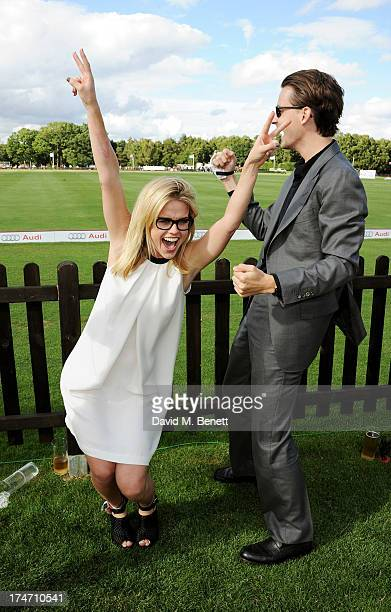 Alice Eve and brother Jack Eve attend the Audi International Polo at Guards Polo Club on July 28 2013 in Egham England