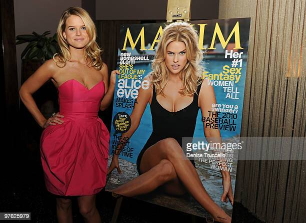 Alice Eve attends Maxim's April cover party at Koi Restaurant at Planet Hollywood Resort and Casino on March 10 2010 in Las Vegas Nevada