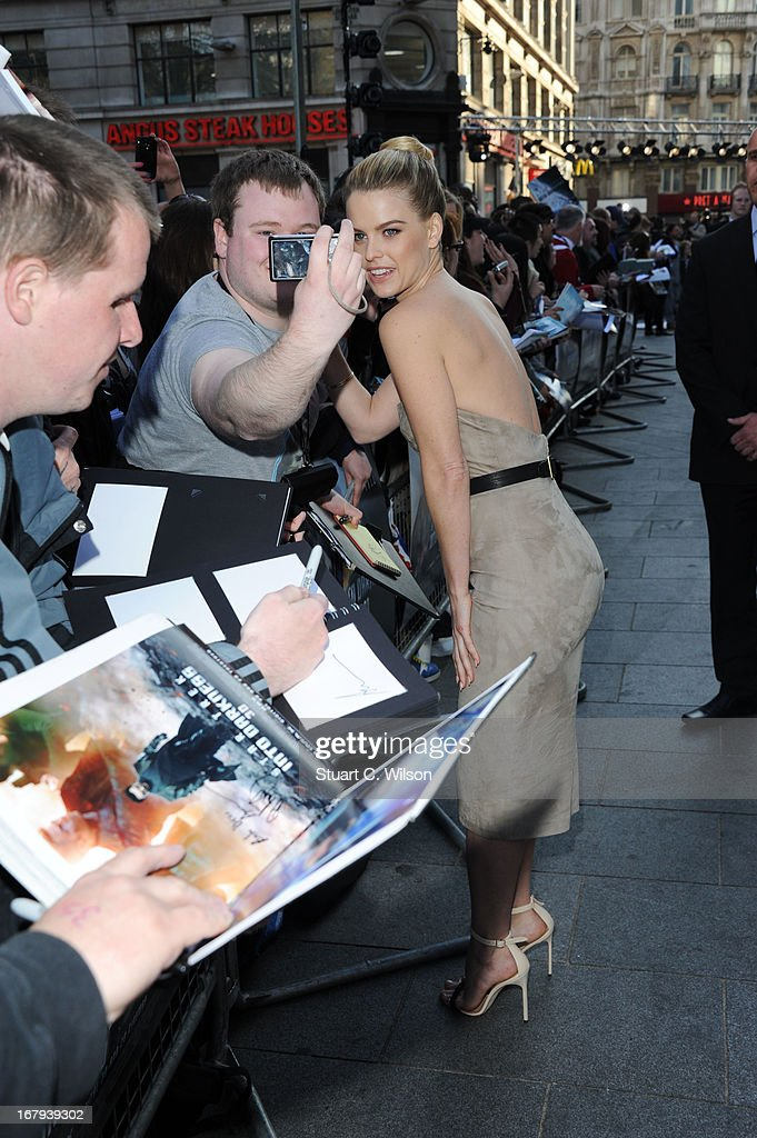Alice Eve greets fans at the UK Premiere of 'Star Trek Into Darkness' at The Empire Cinema on May 2, 2013 in London, England.