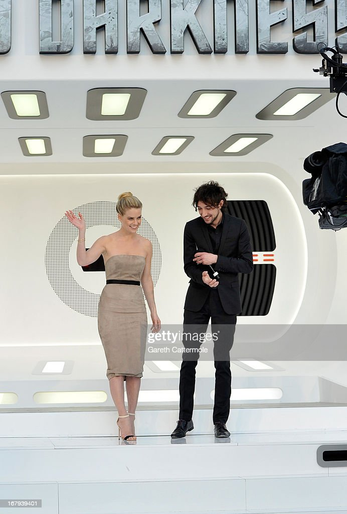 Alice Eve is interviewed by Alex Zane at the UK Premiere of 'Star Trek Into Darkness' at The Empire Cinema on May 2, 2013 in London, England.