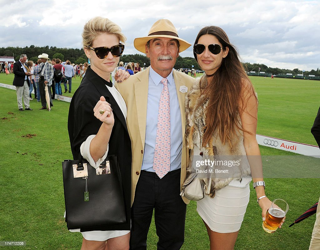 Alice Eve, Julian Hipwood and Lupe Roldan attend the Audi International Polo at Guards Polo Club on July 28, 2013 in Egham, England.