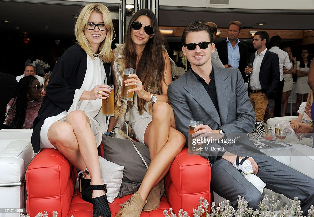 Alice Eve, Lupe Roldan and Jack Eve attend the Audi International Polo at Guards Polo Club on July 28, 2013 in Egham, England.
