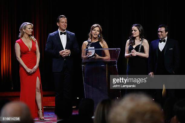 Alice Gainer Chris Wragge Mary Calvi and Andrea Grymes attend 59th Annual New York Emmy Awards at Marriott Marquis Times Square on March 19 2016 in...