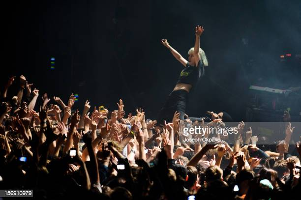 Alice Glass of Crystal Castles perform at Brixton Academy on November 24 2012 in London England