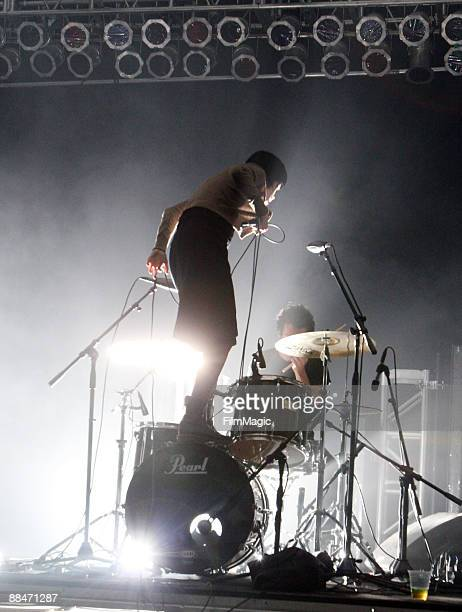 Alice Glass of Crystal Castles perform on stage during Bonnaroo 2009 on June 12 2009 in Manchester Tennessee
