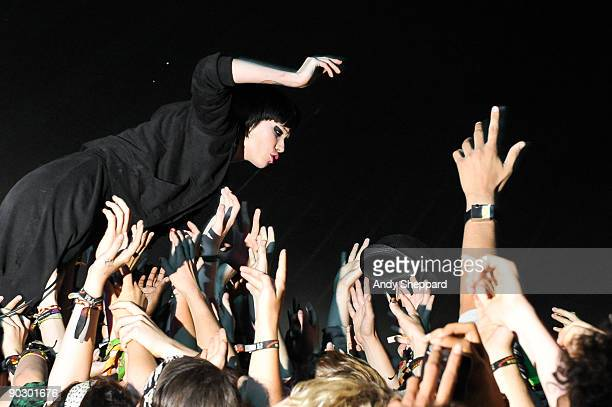 Alice Glass of Crystal Castles performs in the crowd on Day 3 of Reading Festival 2009 on August 30 2009 in Reading England
