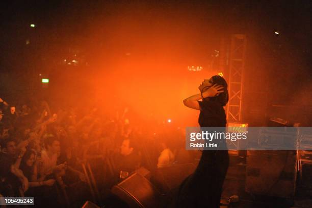Alice Glass of Crystal Castles performs on stage at The Roundhouse on October 15 2010 in London England
