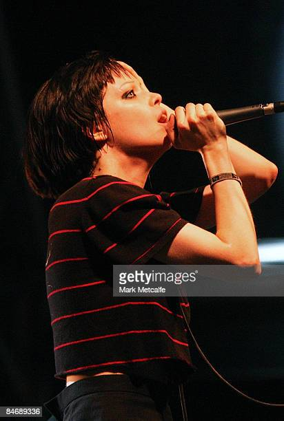 Alice Glass of Crystal Castles performs on stage during day two of Playground Weekender 2009 at Del Rio Resort on February 7 2009 in Sydney Australia