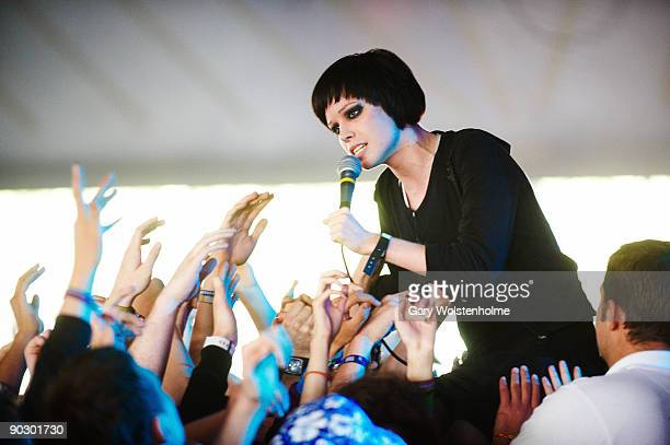 Alice Glass of Crystal Castles performs on stage on the second day of Leeds Festival at Bramham Park on August 29 2009 in Leeds England