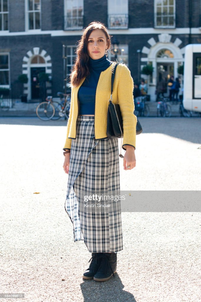 Alice Grindley fashion Assistant at Used magazine wearing Top shop shoes, Zara bag and jacket, Charity shop top and skirt on day 5 of London Fashion Week Spring/Summer 2013, on September 18, 2012 in London, England.
