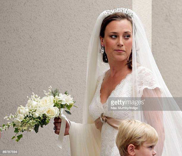 Alice HaddenPaton arrives at The Guards Chapel Wellington Barracks for her wedding to Nicholas van Cutsem on August 14 2009 in London England