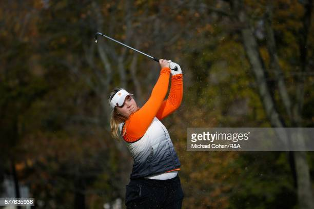 Alice Hewson hits a shot during Curtis Cup practice at Quaker Ridge GC on November 22 2017 in Scarsdale New York