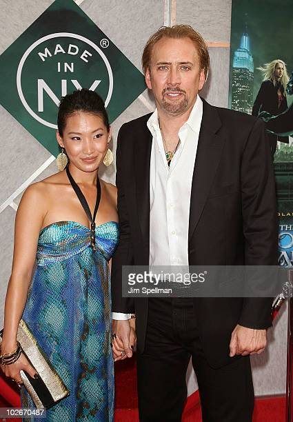 Alice Kim and actor Nicolas Cage attends the premiere of 'The Sorcerer's Apprentice' at the New Amsterdam Theatre on July 6 2010 in New York City