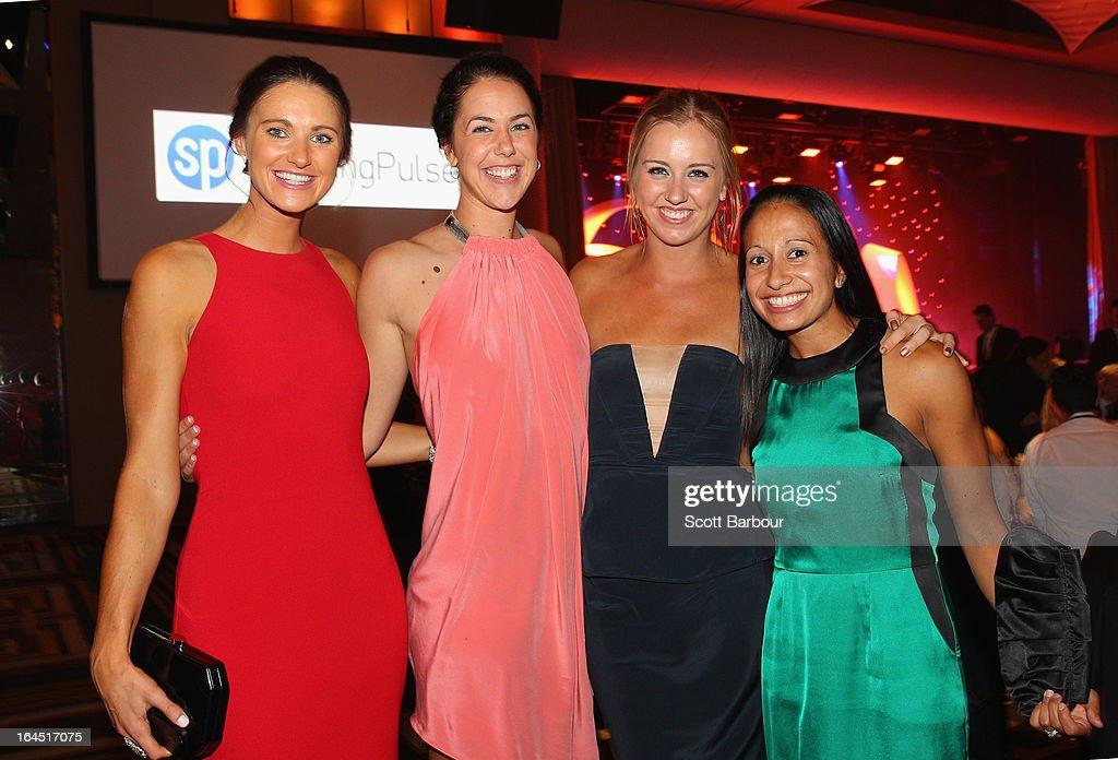 Alice Kunek, Jenna O'Hea, Rachel Jarry and Sharon Milner attend the 2013 Basketball Australia MVP Awards at Crown Palladium on March 24, 2013 in Melbourne, Australia.