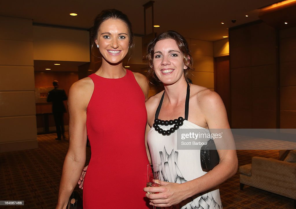 Alice Kunek of the Bulleen Boomers and Hayley Moffat of the West Coast Waves attend the 2013 Basketball Australia MVP Awards at Crown Palladium on March 24, 2013 in Melbourne, Australia.