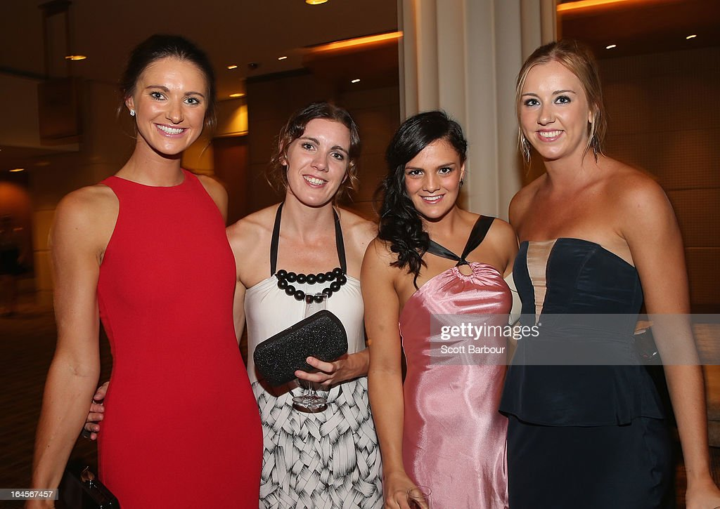 Alice Kunek of the Bulleen Boomers, Hayley Moffat and Amelia Todhunter of the West Coast Waves along with Rachel Jarry of the Bulleen Boomers attend the 2013 Basketball Australia MVP Awards at Crown Palladium on March 24, 2013 in Melbourne, Australia.