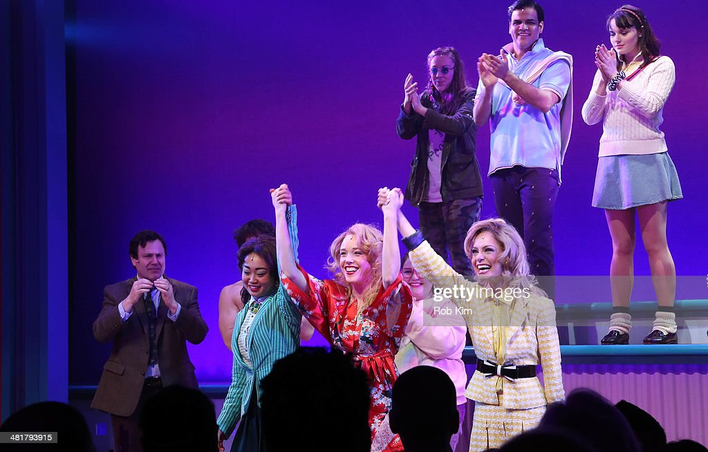 Alice Lee, Jessica Keenan Wynn and Elle McLemore, and cast attend curtain call at the off Broadway opening night of 'Heathers The Musical' at New World Stages on March 31, 2014 in New York City.