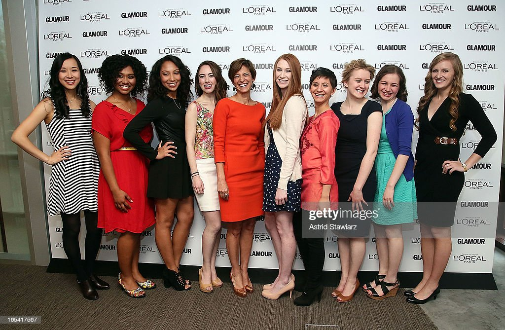 Alice Lee, Otana Jakpor, Micah Schure, Cara Eckholm, Cindi Leive, Katherine Bomkamp, Noorjahan Akbar, Grace Young, Simone Bernstein and Margaret Gilroy attend the Glamour And L'Oreal Paris Celebration for the Top Ten College Women at The Diana Center At Barnard College on April 3, 2013 in New York City.