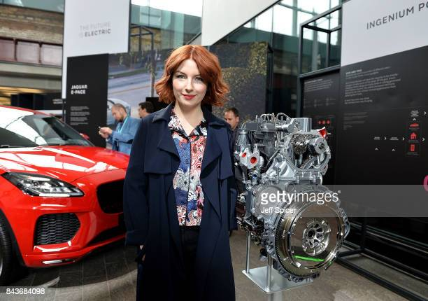 Alice Levine poses with the Land Rover EPace at the Technology with Heart Jaguar Land Rover's Tech Fest at Central St Martins on September 7 2017 in...