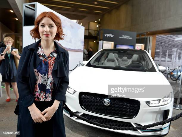 Alice Levine poses with the Land Rover IPace Technology with Heart Jaguar Land Rover's Tech Fest at Central St Martins on September 7 2017 in London...