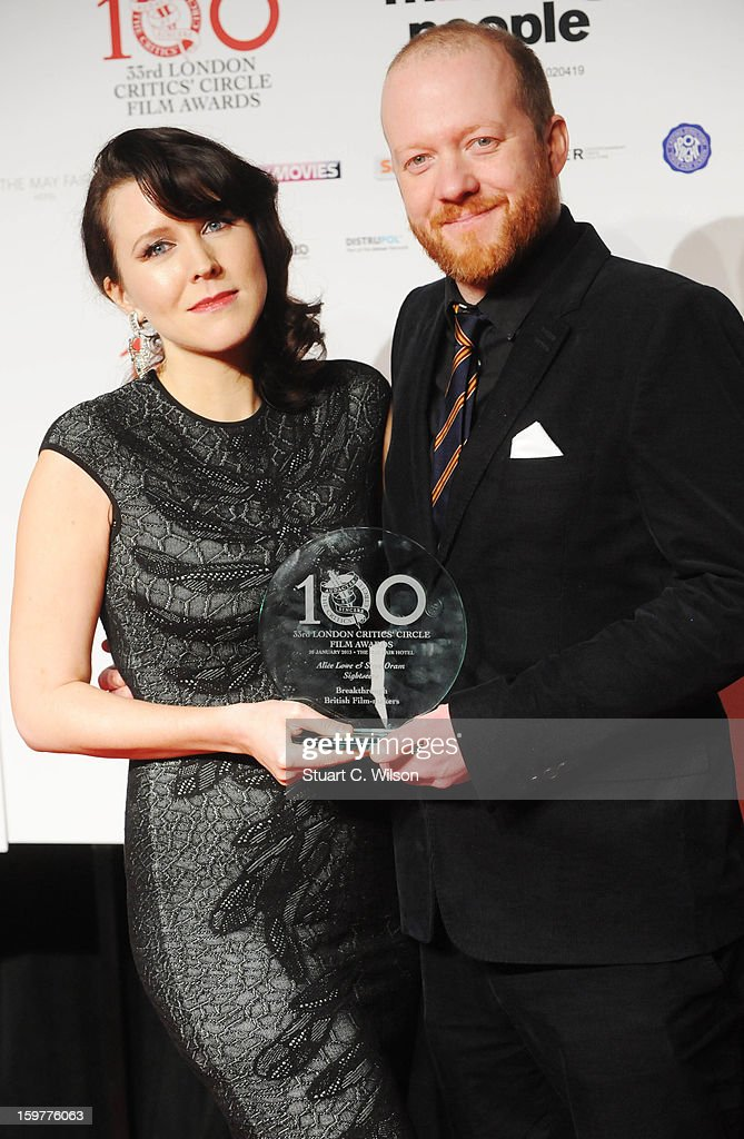 Alice Lowe and Steve Oram poses in the press room after winning the Breakthrough British Film Maker award at the London Critics' Circle Film Awards at The Mayfair Hotel on January 20, 2013 in London, England.