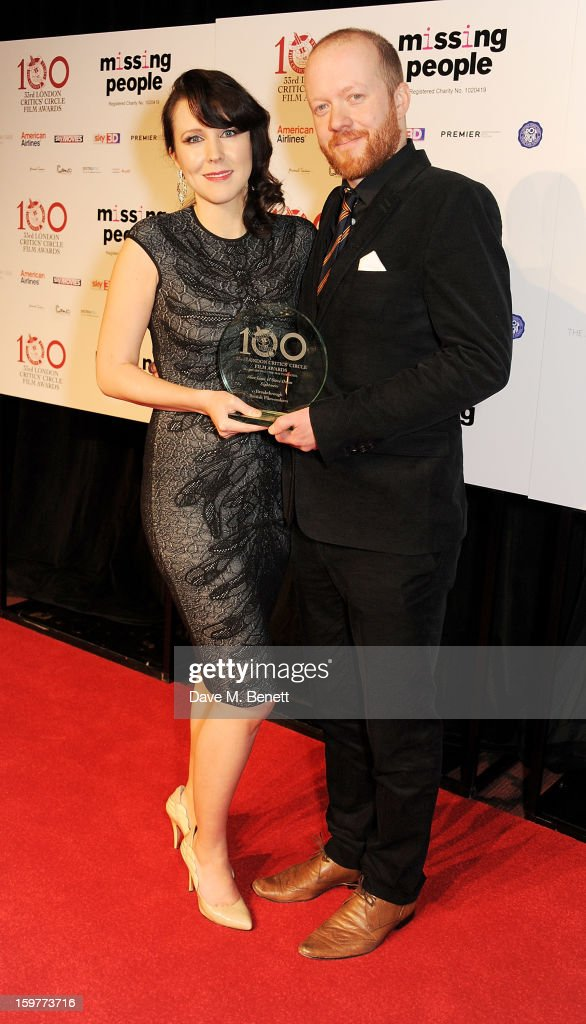 Alice Lowe (L) and Steve Oram, winners of the Breakthrough British Film-maker award, pose in the press room at The London Critics Circle Film Awards at the May Fair Hotel on January 20, 2013 in London, England.