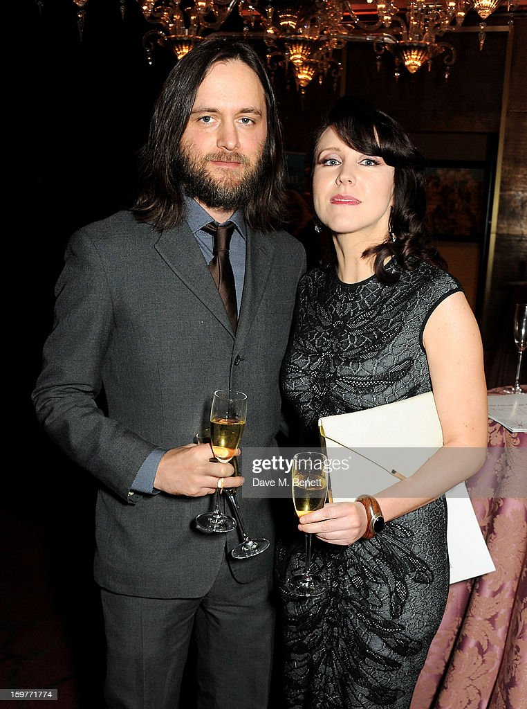 Alice Lowe (R) attends a champagne reception at the London Critics Circle Film Awards at the May Fair Hotel on January 20, 2013 in London, England.