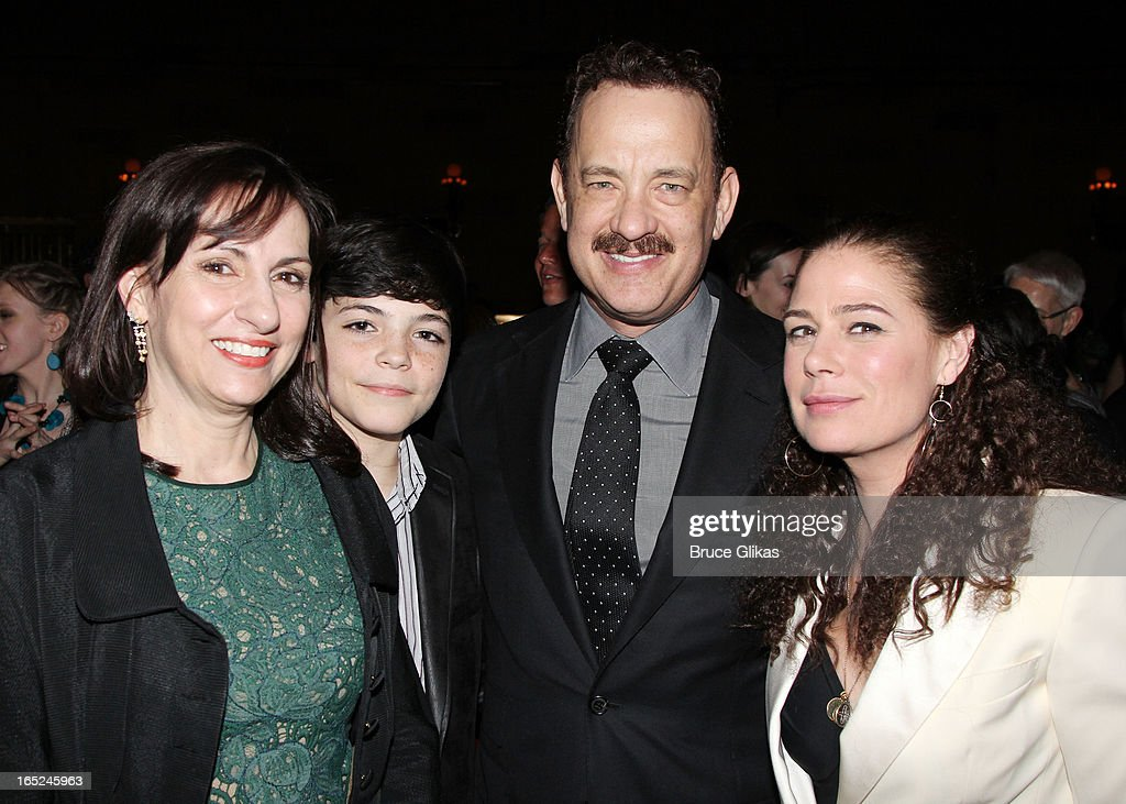 Alice McAlary, Quinn McAlary, <a gi-track='captionPersonalityLinkClicked' href=/galleries/search?phrase=Tom+Hanks&family=editorial&specificpeople=201790 ng-click='$event.stopPropagation()'>Tom Hanks</a> and <a gi-track='captionPersonalityLinkClicked' href=/galleries/search?phrase=Maura+Tierney&family=editorial&specificpeople=228416 ng-click='$event.stopPropagation()'>Maura Tierney</a> attend the opening night party for Broadway's 'Lucky Guy' at Gotham Hall on April 1, 2013 in New York City.