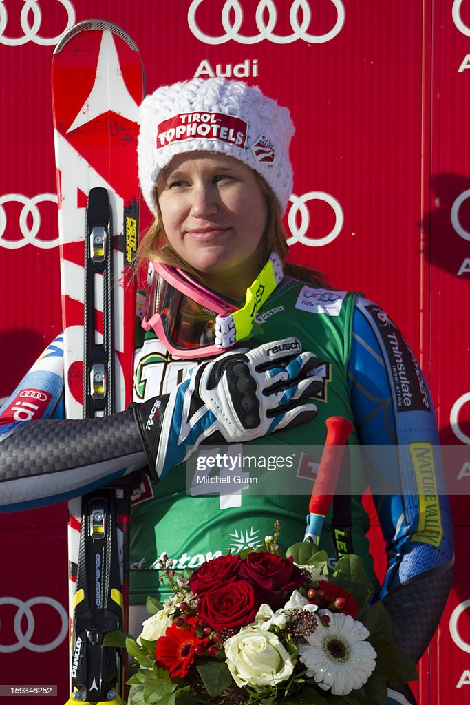 Alice Mckennis of the USA celebrates her victory on the Kandahar course for the Audi FIS Alpine Ski World Cup downhill race on January 12, 2013 in St Anton, Austria.