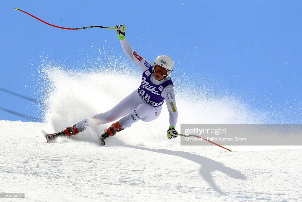 <a gi-track='captionPersonalityLinkClicked' href=/galleries/search?phrase=Alice+McKennis&family=editorial&specificpeople=6531582 ng-click='$event.stopPropagation()'>Alice McKennis</a> of the USA competes during the Audi FIS Alpine Ski World Cup Women's Super G on March 02, 2015 in Bansko, Bulgaria.