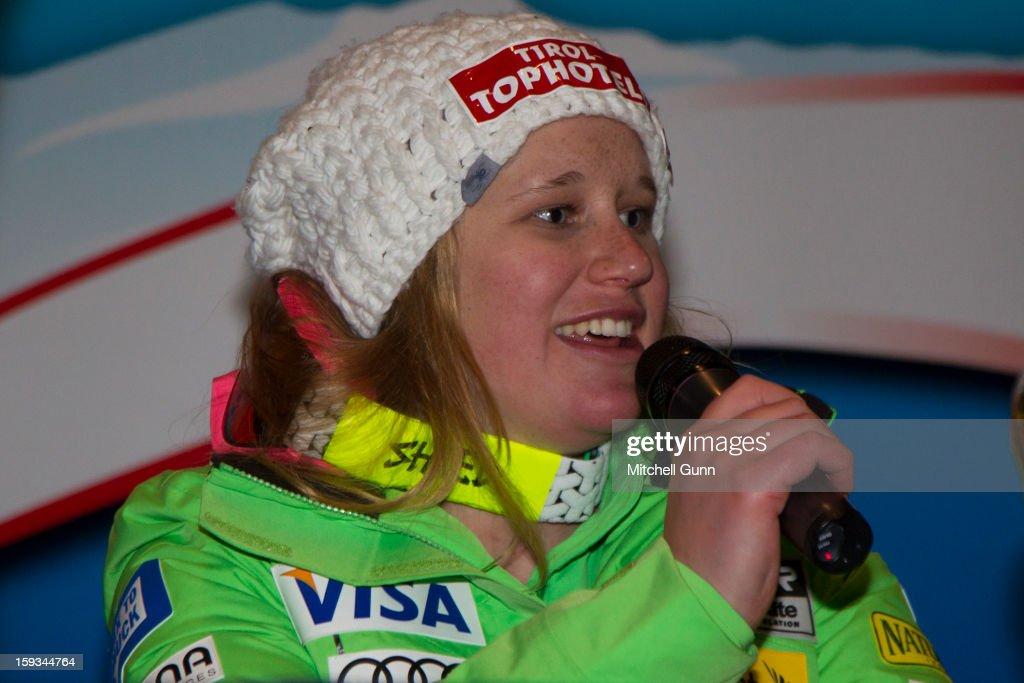Alice Mckennis of the USA during her press conference after winning the Audi FIS Alpine Ski World Cup downhill race on January 12, 2013 in St Anton, Austria.