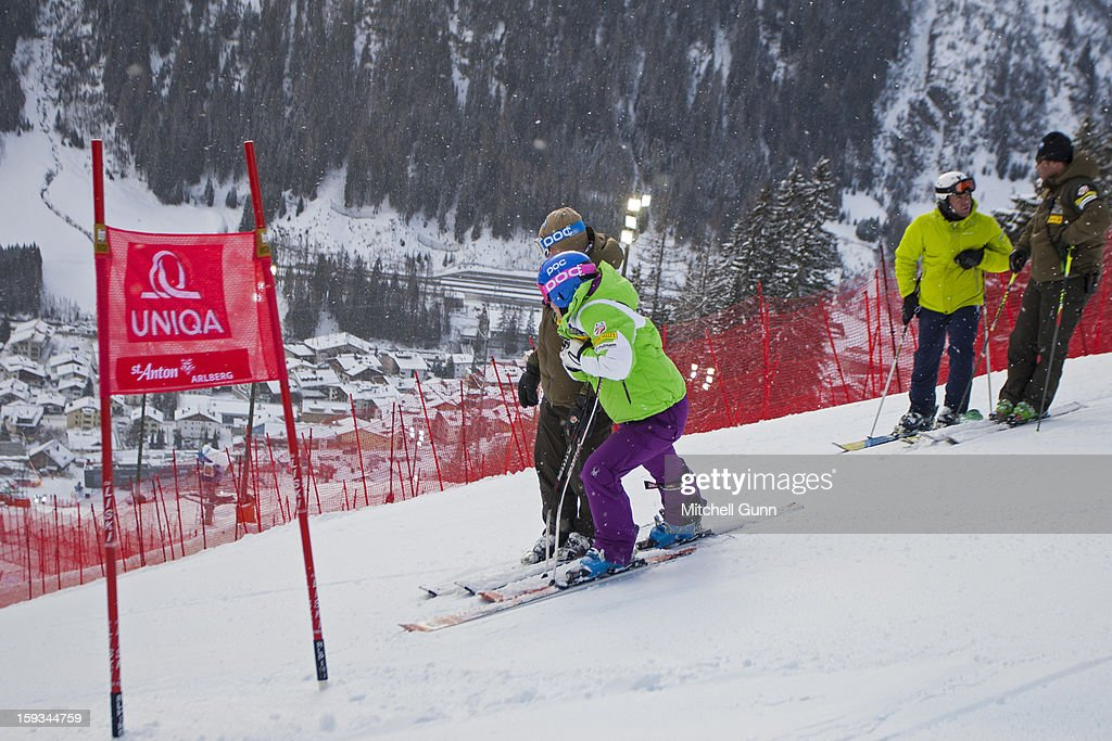 Alice Mckennis of the USA gets course instructions from the Head coach of USA Speed Team Chip White on the Kandahar course during the course inspection prior to competing in the Audi FIS Alpine Ski World Cup downhill race on January 12, 2013 in St Anton, Austria.