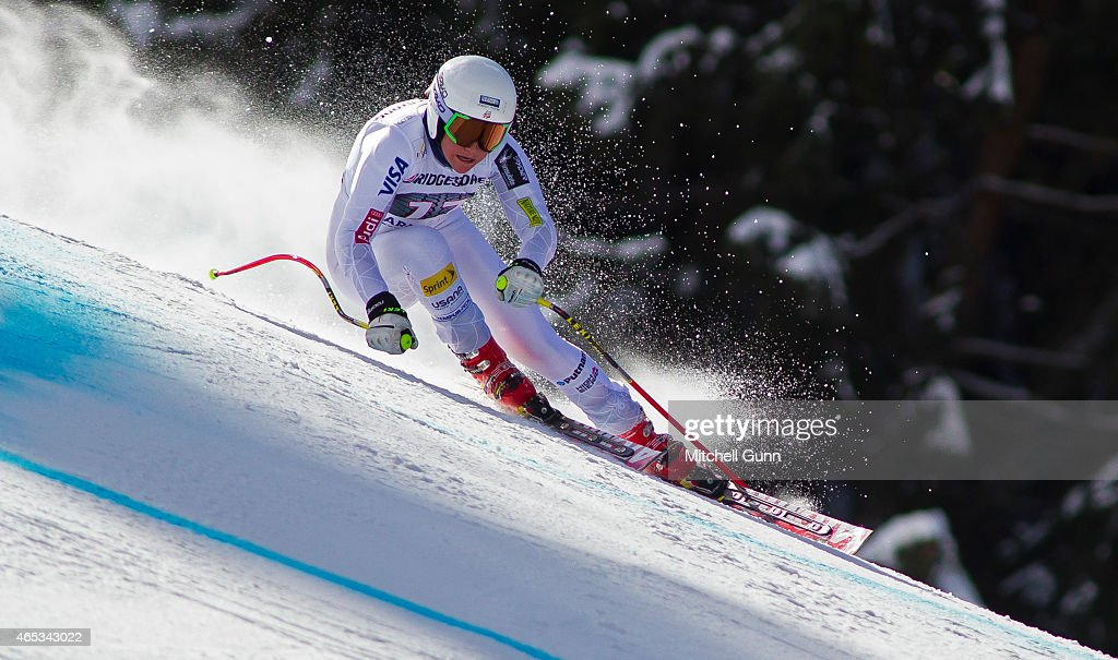 Alice Mckennis of The USA races down the Kandahar course during the Audi FIS Alpine Ski World Cup downhill training on March 06 2015 in Garmisch-Partenkirchen, Germany.