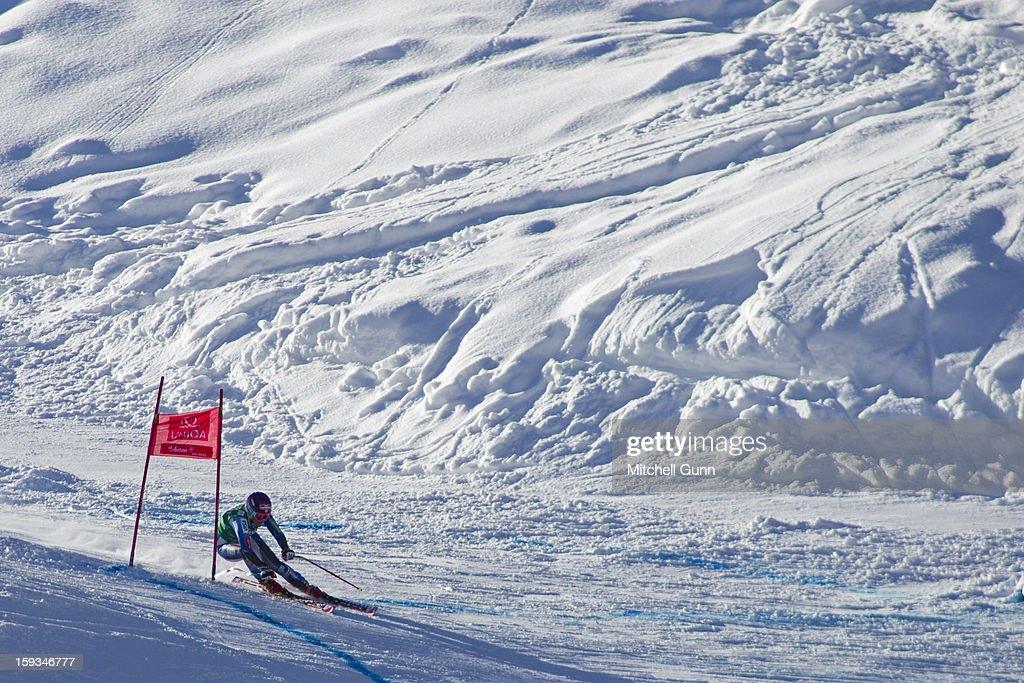 Alice Mckennis of the USA races down the Kandahar course while competing in the Audi FIS Alpine Ski World Cup downhill race on January 12, 2013 in St Anton, Austria.