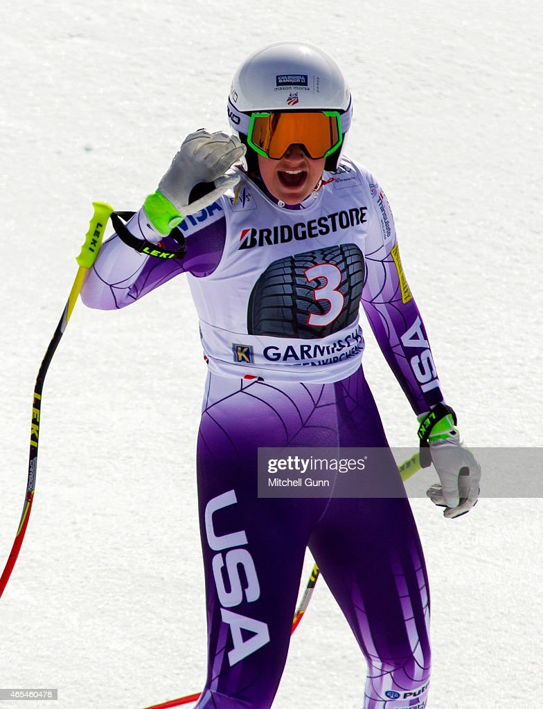Alice Mckennis of The USA reacts in the finish area after competing in the Audi FIS Alpine Ski World Cup downhill race on March 07 2015 in Garmisch-Partenkirchen, Germany.