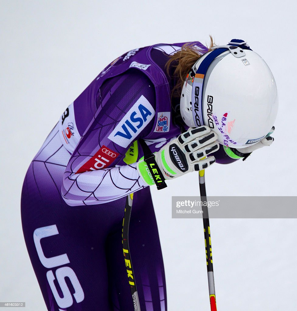 Alice Mckennis of The USA reacts in the finish area during the FIS Alpine Ski World Cup Women's downhill race on January 16, 2015 in Cortina d'Ampezzo, Italy.