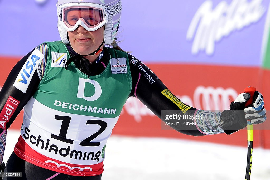 US Alice Mckennis reacts at finish line during the women's downhill event of the 2013 Ski World Championships in Schladming, Austria on February 10, 2013.