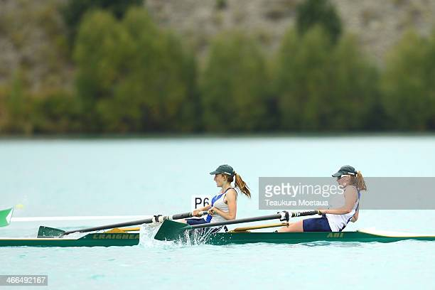 Alice Murdoch and Renee Olley compete in the Womans under19 coxless pairs oars final during the South Island Club Championships at Lake Ruataniwha on...