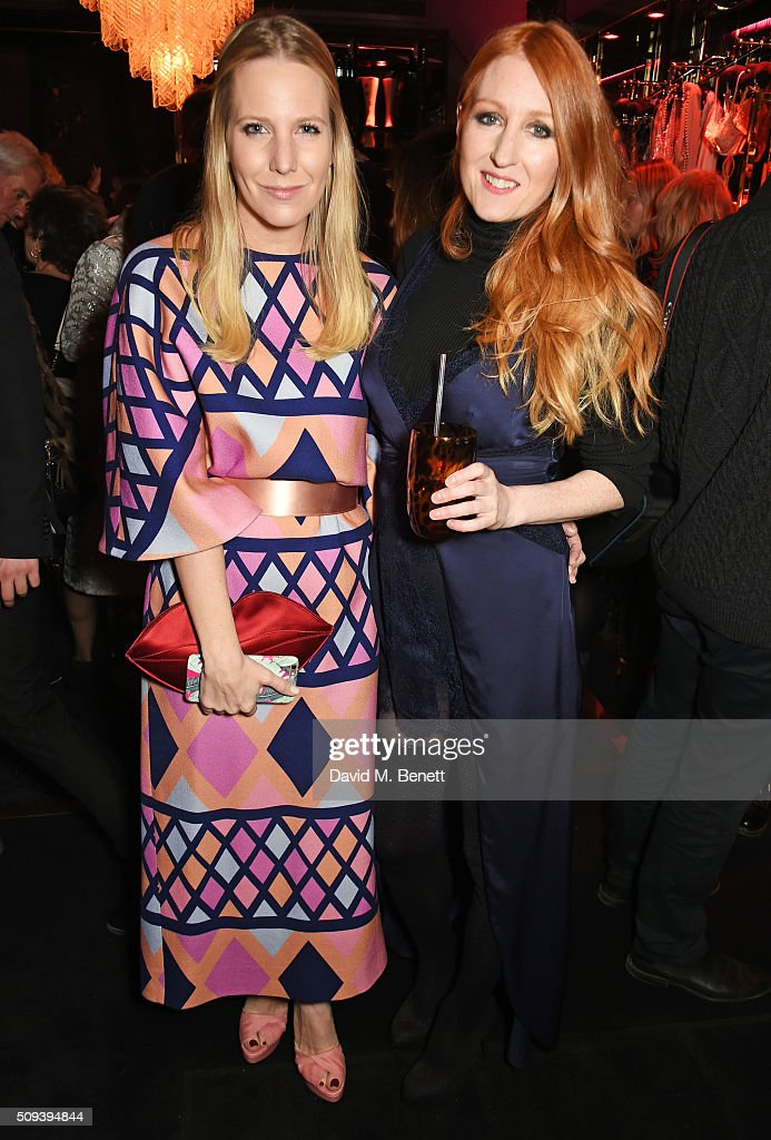 Alice Naylor-Leyland (L) and Agent Provocateur Creative Director Sarah Shotton attend an intimate cocktail event hosted at Agent Provocateur Grosvenor Street boutique to celebrate the launch of the Agent Provocateur and Charlotte Olympia capsule collection on February 10, 2016 in London, England.