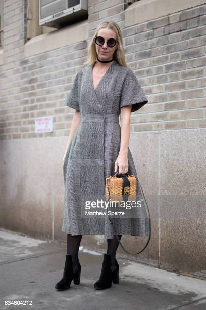 Alice NaylorLeyland is seen attending Creatures of the Wind during New York Fashion Week wearing a gray dress on February 11 2017 in New York City