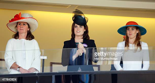 Alice Plunkett Princess Eugenie and Princess Beatrice watch Queen Elizabeth II's horse 'Dartmouth' run in The King George V Stakes on day 3 Ladies...