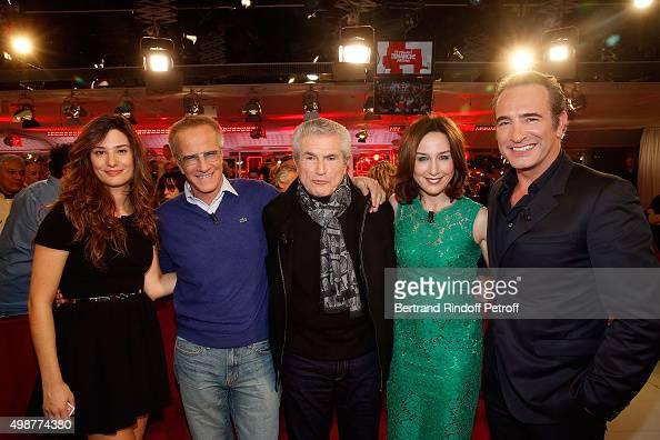 Alice Pol Christophe Lambert Claude Lelouch Elsa Zylberstein and Jean Dujardin attend 'Vivement Dimanche' TV Show at Pavillon Gabriel on November 25...