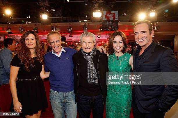 Alice Pol Christophe Lambert Claude Lelouch Elsa Zylberstein and Jean Dujardin attend 'Vivement Dimanche' TV Show at Pavillon Gabriel on November 25...