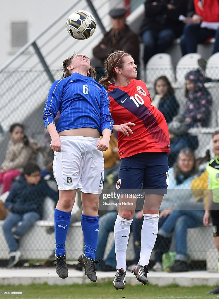 Alice Regazzoli of Italy and Andrea Norheim of Norway in action during the Women's U17 international friendly match between Italy and Norway on February 9, 2016 in Cervia, Italy.