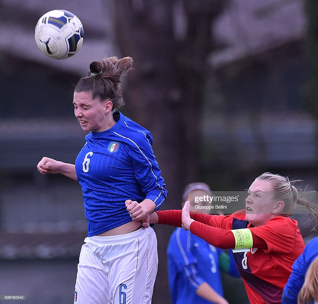 Alice Regazzoli of Italy and Frida Maanum of Norway in action during the Women's U17 international friendly match between Italy and Norway on February 9, 2016 in Cervia, Italy.