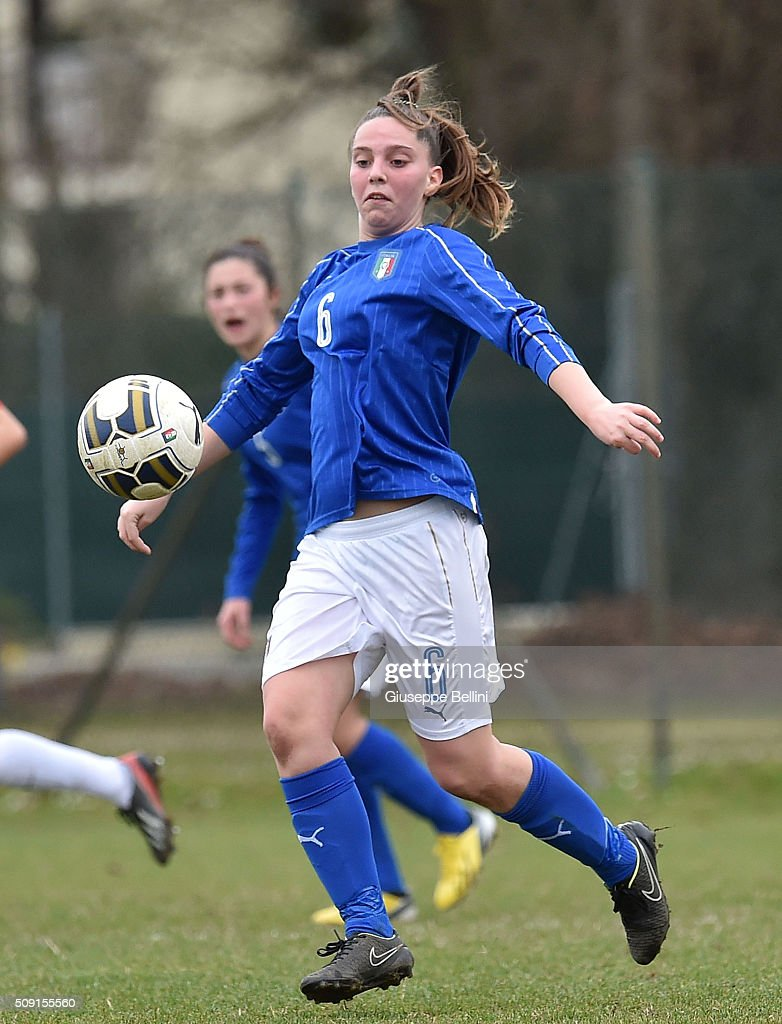 Alice Regazzoli of Italy in action during the Women's U17 international friendly match between Italy and Norway on February 9, 2016 in Cervia, Italy.