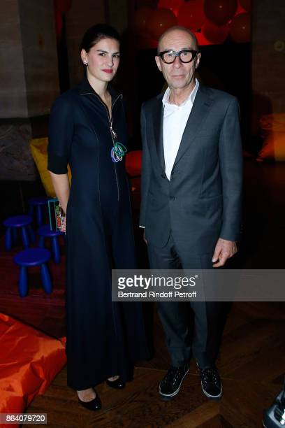 Alice Ricard and Bernard Frize attend the 'Bal Jaune Elastique 2017' Dinner Party at Palais Brongniart during FIAC on October 20 2017 in Paris France