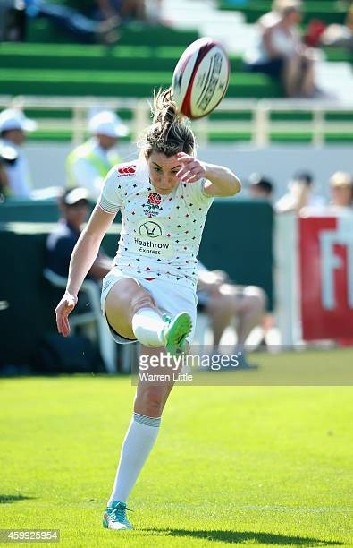 Alice Richardson of England converts a try against Fiji during the IRB Women's Sevens Rugby World Series at the Emirates Dubai Rugby Sevens at on...