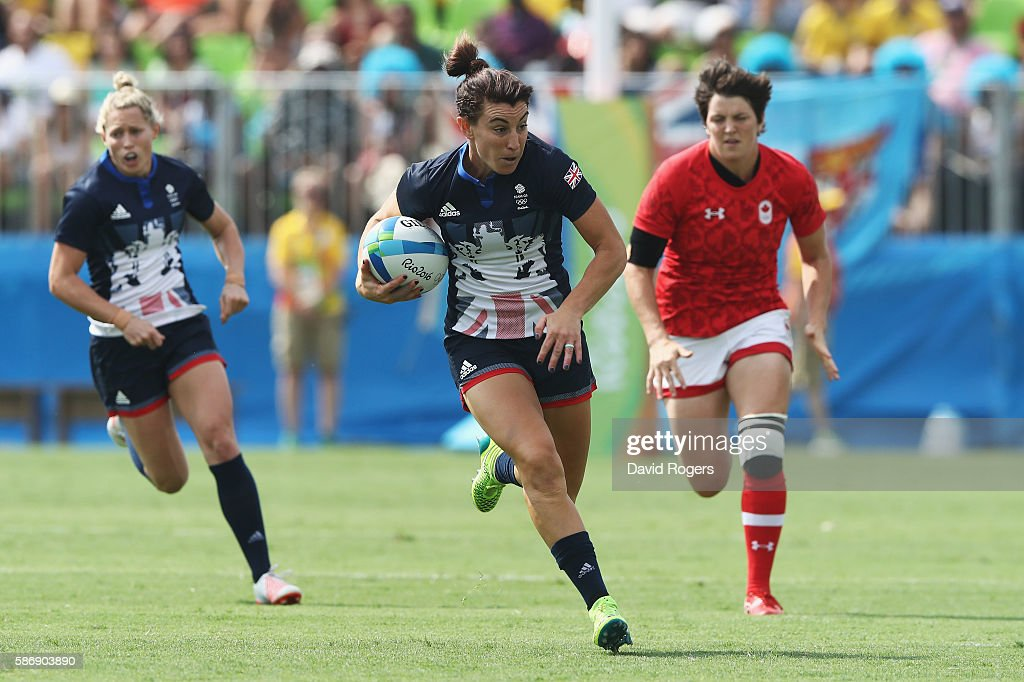 Alice Richardson of Great Britain carries the ball against Canada during the Women's Pool C rugby match on Day 2 of the Rio 2016 Olympic Games at...