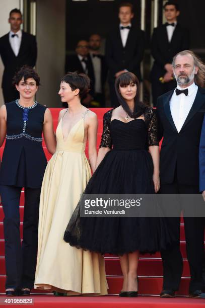 Alice Rohrwacher Alba Rohrwacher Monica Bellucci and Sam Louwyck attend 'The Wonders' Premiere at the 67th Annual Cannes Film Festival on May 18 2014...